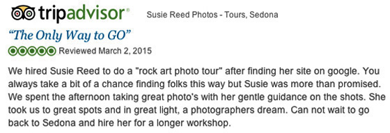 Susie Reed Photos TripAdvisor 5-Star Review